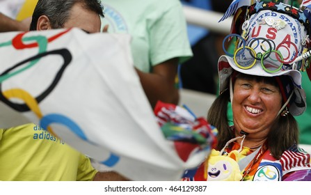Rio de Janeiro August 03, 2016  A US fan have fun during the 2016 Olympic Games.