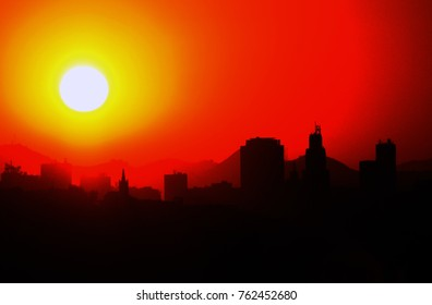 Rio de Janeiro, August 24, 2014. View of the dawn of the center of the city of Rio de Janeiro, Brazil.