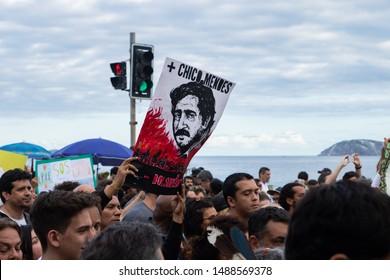 RIO DE JANEIRO, AUGUST 25, 2019:  Manifestation in favor of the Amazon Rainforest and against the government of President Jair Bolsonaro at Ipanema beach, Rio de Janeiro.