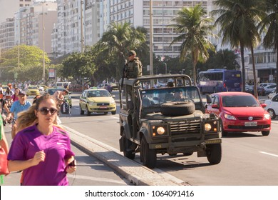 RIO DE JANEIRO - AUGUST 5: Military vehicle parked along downtown city street during Olympics in Rio De Janeiro, Brazil on August 5, 2016.