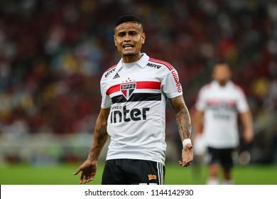 Rio de Janeiro, Brasil, 07.18.2018 - Soccer player of Sao Paulo team (Everton) during a Brazilian Championship Soccer match. Flamengo team versus Sao Paulo team.