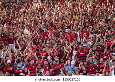 Rio de Janeiro, Brasil, 07.29.2018 - Fan group for Flamengo team (torcida do Flamengo) during a Brazilian Championship Soccer match. Flamengo team versus Sport team.
