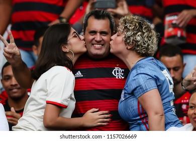 Rio de Janeiro, Brasil, 08.12.2018 - Fan group for Flamengo team (torcida do Flamengo) during a Brazilian Championship Soccer match. Flamengo team versus Cruzeiro team.