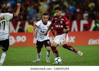 Rio de Janeiro, Brasil, 08.23.2018 - Soccer player of Flamengo team Lucas Paqueta (right) during a Brazilian Championship Soccer match. Flamengo team versus Vitoria team.