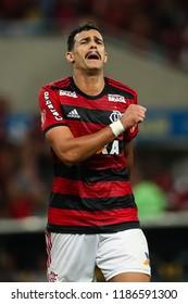 Rio de Janeiro, Brasil, 08.23.2018 - Soccer player of Flamengo team Henrique Dourado (or Ceifador) during a Brazilian Championship Soccer match. Flamengo team versus Vitoria team.