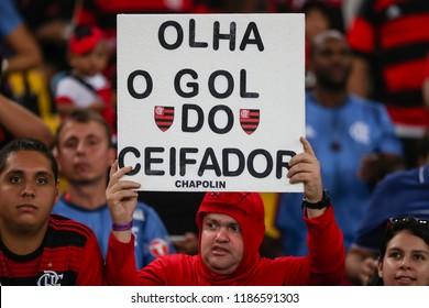 Rio de Janeiro, Brasil, 08.23.2018 - Fan group for Flamengo team (torcida do Flamengo) during a Brazilian Championship Soccer match. Flamengo team versus Vitoria team.