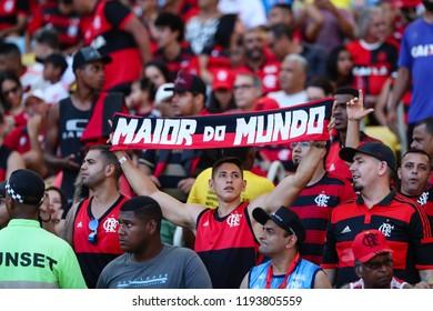 Rio de Janeiro, Brasil, 09.23.2018 -  Fan group for Flamengo team (torcida do Flamengo) during a Brazilian Championship Soccer match. Flamengo team versus Atletico Mineiro team.