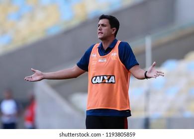 Rio de Janeiro, Brasil, 09.23.2018 - Coach of Flamengo team (Mauricio Barbieri) during a Brazilian Championship Soccer match. Flamengo team versus Atletico Mineiro team.