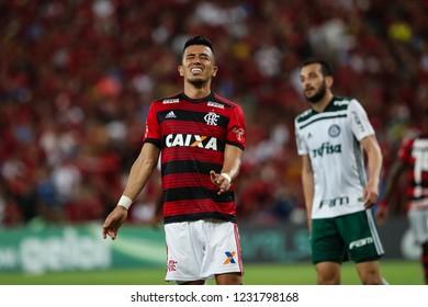 Rio de Janeiro, Brasil, 10 27 2018 - Uribe (Flamengo - left) during a Brazilian Championship Soccer match. Flamengo team versus Palmeiras team.