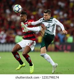 Rio de Janeiro, Brasil, 10 27 2018 - Vitinho (Flamengo - left) and Victor Luis (Palmeiras - right) during a Brazilian Championship Soccer match. Flamengo team versus Palmeiras team.