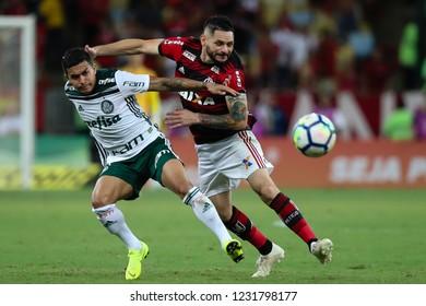 Rio de Janeiro, Brasil, 10 27 2018 - Para (Flamengo - right) and Dudu (Palmeiras - left) during a Brazilian Championship Soccer match. Flamengo team versus Palmeiras team.