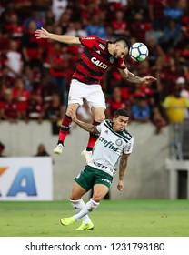 Rio de Janeiro, Brasil, 10 27 2018 - Para (Flamengo - above) and Dudu (Palmeiras - below) during a Brazilian Championship Soccer match. Flamengo team versus Palmeiras team.