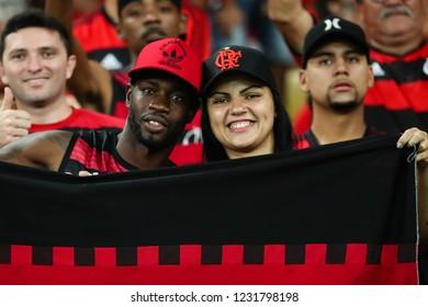 Rio de Janeiro, Brasil, 10 27 2018 - Fan group for Flamengo team (torcida do Flamengo) during a Brazilian Championship Soccer match. Flamengo team versus Palmeiras team.
