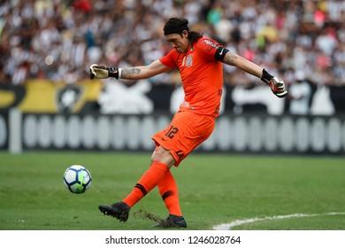 Rio de Janeiro, Brasil, 11 04 2018 - Goalkeeper Cassio (Corinthians team) during a Brazilian Championship Soccer match. Botafogo team versus Corinthians team.
