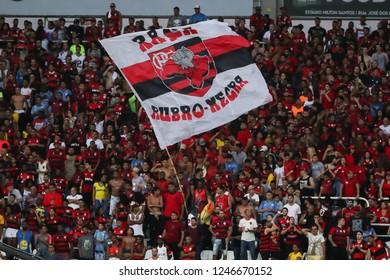Rio de Janeiro, Brasil, 11 10 2018 - Fan group for Flamengo team (torcida do Flamengo) during a Brazilian Championship Soccer match. Botafogo team versus Flamengo team.