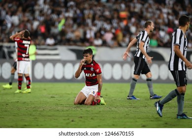 Rio de Janeiro, Brasil, 11 10 2018 - Lucas Paqueta (Flamengo team - center) during a Brazilian Championship Soccer match. Botafogo team versus Flamengo team.