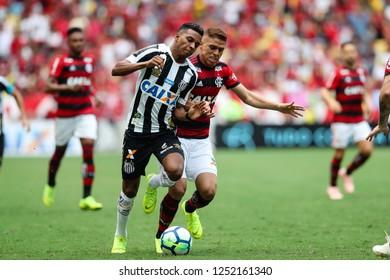 Rio de Janeiro, Brasil, 11 15 2018 - Rodrygo (Santos team - left) and Cuellar (Flamengo team - right) during a Brazilian Championship Soccer match. Flamengo team versus Santos team.