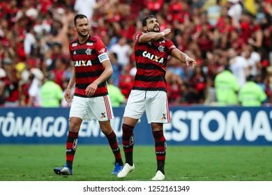 Rio de Janeiro, Brasil, 11 15 2018 -  Henrique Dourado (Flamengo - right) celebrates a goal during a Brazilian Championship Soccer match. Flamengo team versus Santos team.