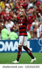 Rio de Janeiro, Brasil, 11 15 2018 -  Henrique Dourado (Flamengo) celebrates a goal during a Brazilian Championship Soccer match. Flamengo team versus Santos team.