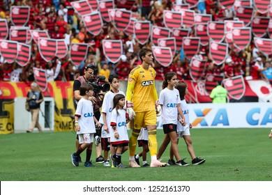 Rio de Janeiro, Brasil, 11 15 2018 -  Goalkeeper of Flamengo team (Cesar - center) among chiildren during a Brazilian Championship Soccer match. Flamengo team versus Santos team.