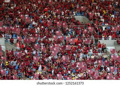 Rio de Janeiro, Brasil, 11 15 2018 -  Fan group for Flamengo team (torcida do Flamengo) during a Brazilian Championship Soccer match. Flamengo team versus Santos team.