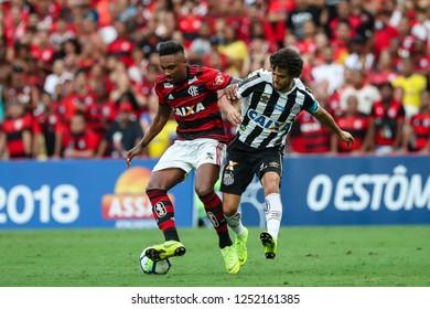Rio de Janeiro, Brasil, 11 15 2018 -   Vitinho (Flamengo team - left) during a Brazilian Championship Soccer match. Flamengo team versus Santos team.
