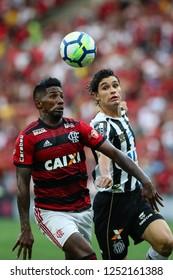 Rio de Janeiro, Brasil, 11 15 2018 -   Rodinei (Flamengo team - left) and Dodo (Santos team) during a Brazilian Championship Soccer match. Flamengo team versus Santos team.