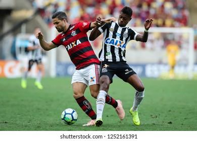 Rio de Janeiro, Brasil, 11 15 2018 -  Diego (Flamengo - left) and Bruno Henrique (Santos - right) during a Brazilian Championship Soccer match. Flamengo team versus Santos team.