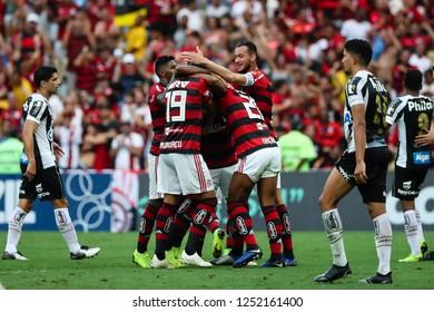 Rio de Janeiro, Brasil, 11 15 2018 -  Soccer players of Flamengo team celebrate goal during a Brazilian Championship Soccer match. Flamengo team versus Santos team.