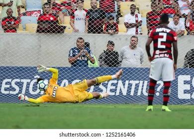 Rio de Janeiro, Brasil, 11 15 2018 -  Goalkeeper Cesar (Flamengo team) grabbed a penalty during a Brazilian Championship Soccer match. Flamengo team versus Santos team.