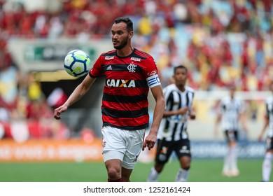 Rio de Janeiro, Brasil, 11 15 2018 -  Rever (Flamengo team) during a Brazilian Championship Soccer match. Flamengo team versus Santos team.