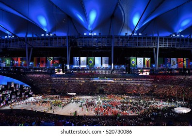 Rio De Janeiro, Brazil, 05 August: The contingents walked past at the opening ceremony of the 2016 Olympic Games at the Maracana in Rio.