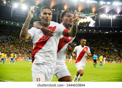 Rio de Janeiro- Brazil 07 July 2019 Final of the Copa America, Brazil x Peru, at the stadium of MaracanãPlayer Paolo Guerrero celebrates his goal