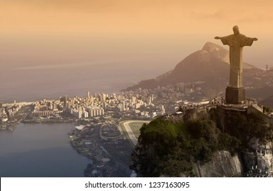 Rio de Janeiro. Brazil. 07.21.03. Aerial view of the iconic landmark of the Christ the Redeemer Statue at Corcovado, overlooking the city of Rio de Janeiro. Brazil.