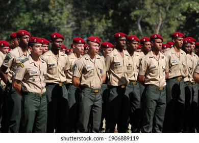Rio de Janeiro Brazil 07.27.2019: Military army troops of paratroopers in form during graduation at headquarters. Armed Forces special battalion staff grouped in courtyard. National defense concept.