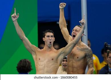 Rio de Janeiro, Brazil 08/07/2016: USA team wins Rio 2016 Olympic Games 4 x 100m freestyle relay swim. Michael Phelps, Nathan Adrian, Ryan Held, Caeleb Dressel  scores gold medal swimming competition