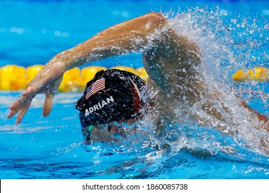 Rio de Janeiro, Brazil 08/07/2016: Nathan Adrian wins Rio 2016 Olympic Games 4 x 100m freestyle relay swim for USA team with Michael Phelps, Ryan Held, Caeleb Dressel. Gold medal swimming competition