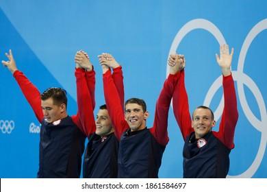 Rio de Janeiro, Brazil 08.07.2016: USA team wins Rio 2016 Olympic Games 4 x 100m freestyle relay swim. Michael Phelps, Nathan Adrian, Ryan Held, Caeleb Dressel  scores gold medal swimming competition