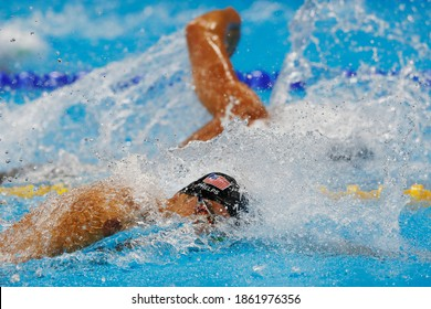 Rio de Janeiro, Brazil 08.07.2016: Michael Phelps wins Rio 2016 Olympic Games 4 x 100m freestyle relay swim for USA team with Nathan Adrian, Ryan Held, Caeleb Dressel. Gold medal swimming competition