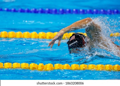 Rio de Janeiro, Brazil 08.07.2016: Nathan Adrian wins Rio 2016 Olympic Games 4 x 100m freestyle relay swim for USA team with Michael Phelps, Ryan Held, Caeleb Dressel. Gold medal swimming competition