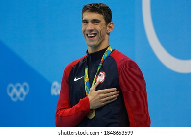 Rio de Janeiro, Brazil 08/09/2016: Michael Phelps gold medal at Rio 2016 Olympic Games 200m butterfly swim portrait. USA champion record holder swimmer wins swimming competition at Aquatic Stadium