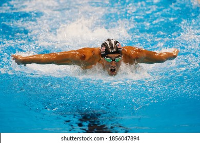 Rio de Janeiro, Brazil 08/09/2016: Michael Phelps wins Rio 2016 Olympic Games 200m butterfly swim. USA champion record holder swimmer scores another gold medal swimming competition at Aquatic Stadium