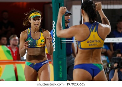 Rio de Janeiro, Brazil 08.17.2016: Ágatha Bednarczuk and Bárbara Seixas, brazilian beach volleyball silver medalist team at Rio 2016 Summer Olympic Games.