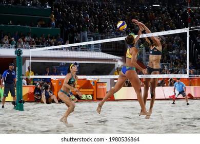 Rio de Janeiro, Brazil 08.17.2016: Ágatha Bednarczuk and Bárbara Seixas, brazilian beach volleyball silver medalist team at Rio 2016 Summer Olympic Games vs germany team Kira Walkenhorst.