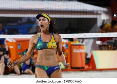 Rio de Janeiro, Brazil 08.17.2016: Ágatha Bednarczuk brazilian beach volleyball silver medalist team player at Rio 2016 Summer Olympic Games.