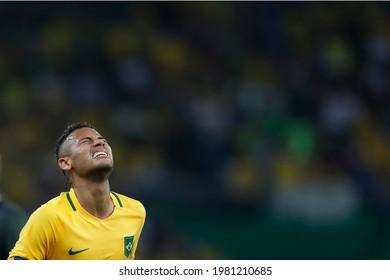 Rio de Janeiro, Brazil 08.20.2016: Neymar Jr brazilian soccer player superstar at Maracana Stadium. National team forward at final gold medal match at Rio 2016 Olympic Games.