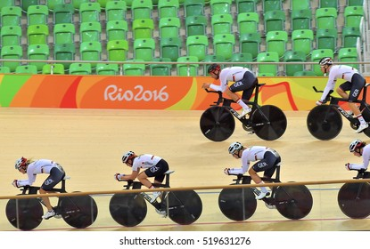 Rio de Janeiro - Brazil 11 August 2016: Cycling Team Germany in the 2016 Olympic Games tranning sesion at Rio Olympic Velodrome, Olympic Park, Brazil.