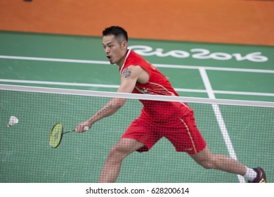 Rio de Janeiro, Brazil, 11 august 2016: Chinese badminton player Lin Dan (CHN) when playing against Obernosterer (AUT) during Olympic Games Rio 2016 at Riocentro Pavillon