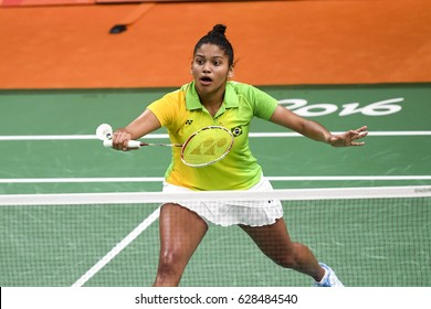 Rio de Janeiro, Brazil, 11 august 2016: The badminton players VICENTE Lohaynny (BRA) when playing against NEHWAL Saina (IND) during Olympic Games Rio 2016 at Riocentro Pavillon