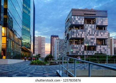 Rio de Janeiro, Brazil, 12/19/2012, Petrobras company building. One of the most original modernist buildings in Rio Petrobras is the headquarters of the Brazilian state oil company.